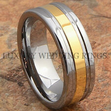 Mens Tungsten Ring 14K Gold Tone Wedding Band Anniversary Jewelry Size 6-13
