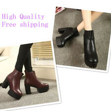 women ankle boots pater leather back side zipper pure color Platform shoes