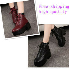 womens ankle  low-heel Platform Strappy pater leather pure color martin boots