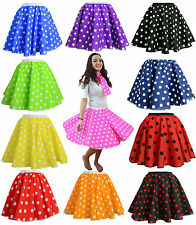 Womens POLKA DOT ROCK AND ROLL 50/60s SKIRT&SCARF FANCY DRESS COSTUME Hen Party