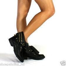 Pyramid Studded Cuff Military Lace Up Ankle Bootie BLACK  Size 6.5 to 10