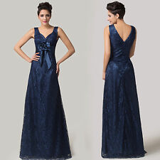 Vogue Ladies Lace V Neck Evening Party Gown Long Prom Coxktail Dress Navy Blue