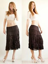 Women's S.L.B. Petite Brown Crinkle Embroidered Midi Peasant Boho Skirt w/Lining