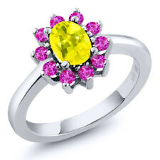 1.45 Ct Oval Canary Mystic Topaz Pink Sapphire 925 Sterling Silver Ring