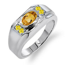 1.45 Ct Oval Yellow Citrine Yellow Created Sapphire 925 Silver Men's Ring