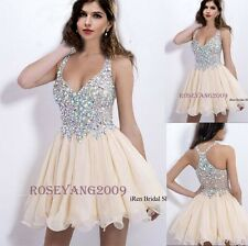 Mini V-neck Beaded Party Cocktail Prom Dress Short Homecoming Dress Ball Gowns