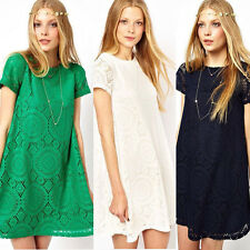 Women's Summer Sexy A-Line Lace Casual Evening Cocktail Party Mini Short Dress