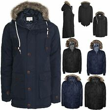 MENS BRAVESOUL MILITIARY PARKA QUILTED FUR HOODED WINTER PADDED JACKET WARM COAT