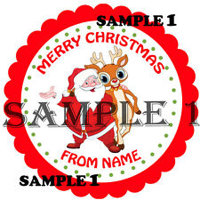 Personalised Christmas Santa Stickers / Sticky Labels 64mm or 51mm Dia Ref 1-01