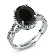 3.05 Ct Oval Black Onyx White Created Sapphire Gemstone 925 Sterling Silver Ring