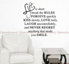 Life Is Art Words Motto Poem Vinyl Wall Sticker Home Decor Decal Mural Removable