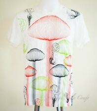 Hippie Magic Mushroom Colorful Wireframe Crinkle T-Shirt Gypsy White Size M