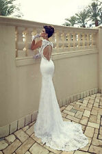 White/ Ivory Lace mermaid beach Wedding Dress Bridal Gown Size 6 8 10 12 14 16