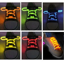 FIBER OPTIC LED SHOE LACES NEON GLOW IN THE DARK STICK GADGET RAVE PARTY FUN DJ