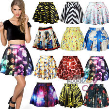 Lady Black Printed Galaxy High Waist Pleated Skater Milk Flared Skirt Mini Dress