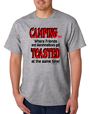 One-liner T-shirt Camping Where Friends And Marshmallows Get Toasted Same Time