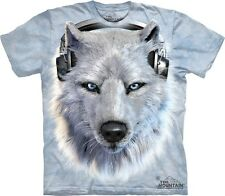 White Wolf DJ Kids T-Shirt from The Mountain. Wolves Boy Girl Child Sizes NEW