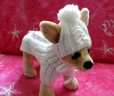 Pet Clothes Apparel Hand-Made Outfit   White Sweater / Hat  for Small Dog