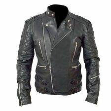 Brando Motorcycle Men Black Top Grain Genuine Cow Hide Leather Jacket - BNWT