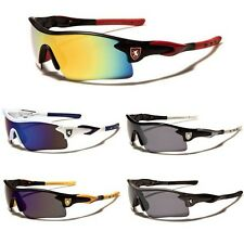 Mens Mirrored Lens Half Frame Wrap Around Sport Cycling Baseball Ski Sunglasses