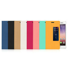 PU Leather Flip Cover For Huawei Ascend P7 With View Window Stand Smart Case