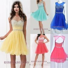 Beaded Short/Mini Cap Sleeve Evening Party Gowns Prom Cocktail Homecoming Dress
