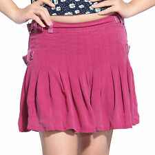 Da Nang Womens Sexy Silk Pleated Jersey Plain Skater Flared Mini Skirt Purple