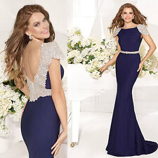 2014 New Bead Cap Sleeve Mermaid Pageant Evening Porm Party Gown Wedding Dresses