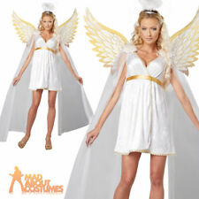 Adult Deluxe Radiant Angel Costume Sexy Ladies Fancy Dress Outfit Wings + Halo