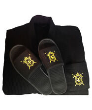 Luxury Men's Embroidered Cotton Waffle Spa Bath Robe with Matching Slippers