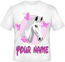 Girls Kids Personalised Pink Butterfly Horse T Shirt Great Birthday Gift idea!!