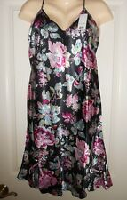 WOMEN'S PLUS SIZE SATIN CHEMISE NIGHTGOWN (SEE MEASUREMENTS)Blk Floral,1-3X,NWT