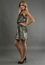 Adrianna Papell Silver Gold Full Beaded Racer Back Cocktail Evening Dress NWT