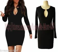 Womens Cut out CAGE front Wiggle Pencil STRETCH SHEATH Bodycon ABOVE KNEE Dress