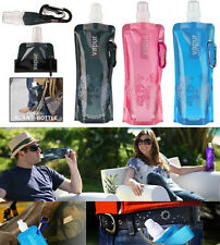 New Outdoor Sports Hiking Portable Foldable Reusable Water Bottle Hook Bag 480ml