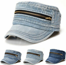 retro army military blue denim jean zipper visor unisex baseball cap hat 3 color