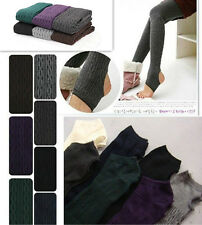 Winter Warm Cotton Knit Thick Stretchy Pantyhose Twisted Stirrup Tights Pants