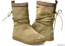 Toms women's Sand Suede Trim Nepal Boot Fleece Lined Tan Moccasin NEW NIB Native