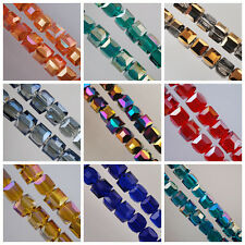 10pcs Cube Square Faceted Glass Crystal Charms Loose Spacer Beads Finding 10mm