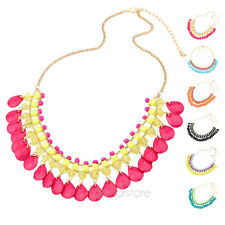 Boho Tier Multi-Layers Choker Droplets Party Girl Summer Dance Necklace Pendant
