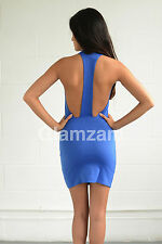 new womens ladies sexy mini bodycon backless celeb party blue low back dress