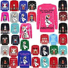 KIDS CHILDREN FROZEN OLAF RUDOLPH CHRISTMAS XMAS SNOW FLAKES KNITTED JUMPER TOP