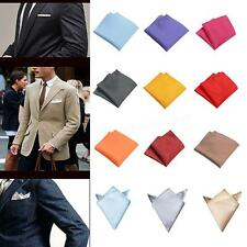 New Chic Mens Silk Satin Pocket Square Hankerchief Hanky Plain Solid Color GBNG