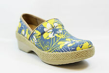 DANSKO VICTORIA CANVAS TAHITI JUTE CLOG BLUE & YELLOW FLORAL SIZE 37, 39, 40, 41