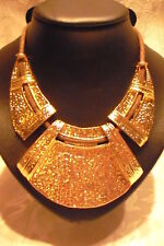 NECKLACE JEWELLERY VINTAGE STYLE, GOLD METAL & BROWN CORD, HAMMERED PLATES 20""
