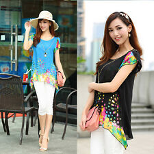 New Women Summer Short Sleeve Shirt Blouse Casual Chiffon Long Loose Tops