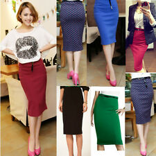 Womens Knee Dress High Waisted Belted Pencil Skirt Stretch Bodycon Knee Length