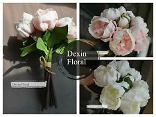 2 bouquets!! Real Touch Peony Bridal Bouquet Artificial Posy Flowers Home Decor