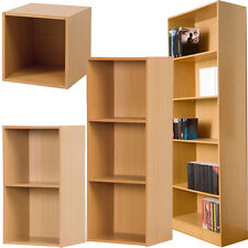 BEECH WOODEN STORAGE TABLE CUPBOARD BOOKCASE SHELVES SHELF CABINET DISPLAY UNIT