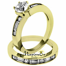 STAINLESS STEEL 1.75 CT ROUND & BAGUETTE CZ 14K GOLD IP WEDDING RING SET SZ 5-10